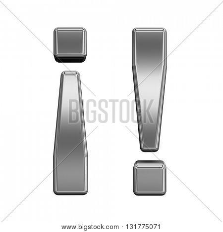 Exclamation mark from titanium alphabet set, isolated on white. 3D illustration.
