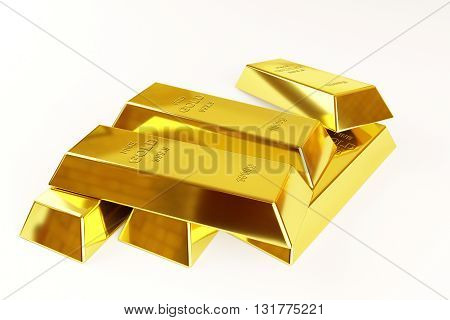 gold bars stack on a white background, 3d rendering