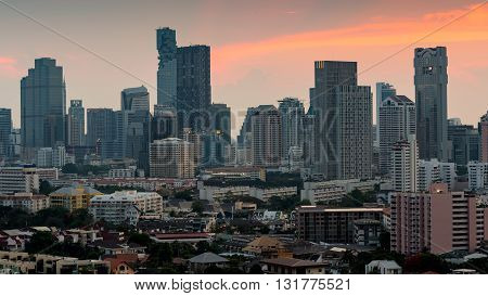 City residence area and office building aerial view after sunset