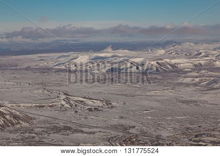 Aerial view Iceland natural mountain winter landscape background