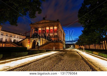 Berlin Germany - May 16 2016: night view of The Old National Gallery in Berlin. It is part of the Berlin National Gallery and situated on Museum Island a UNESCO-designated World Heritage Site