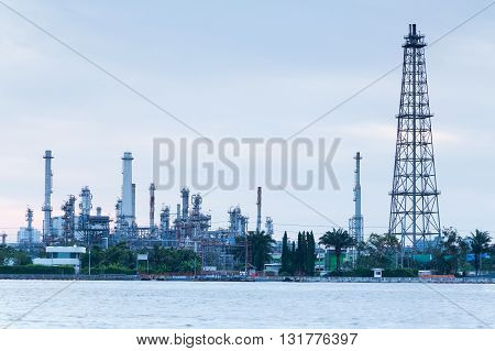 Oil industry refinery waterfront, industry landscape background