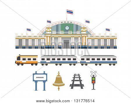 railway station in thailand illustration (Vector eps10)