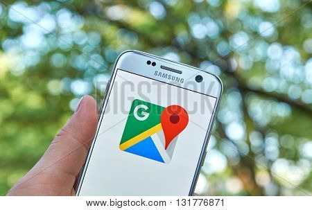 MONTREAL CANADA - MAY 23 2016 : Google Maps application on Samsung S7 screen. Google Maps is a free online map from Google.