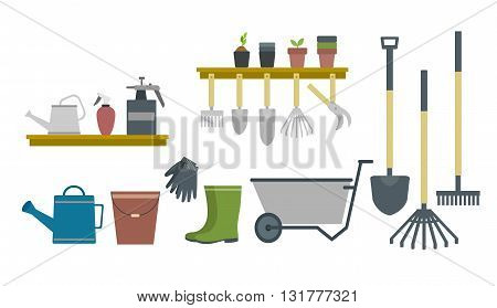 flat illustration of gardening tools and equipment