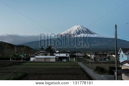 Fuji Mountain in japan volcano village county,