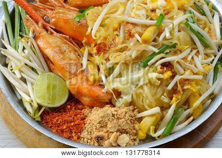 Thai food Pad thai , noodles with shrimp
