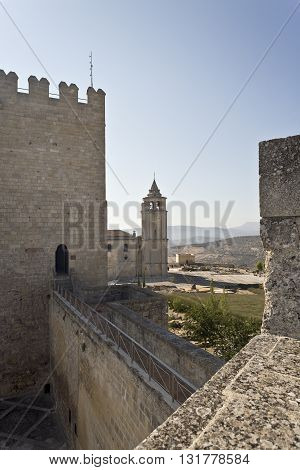 View of the Abbey from the walls of the Alcazar in the Fortaleza de La Mota Spain