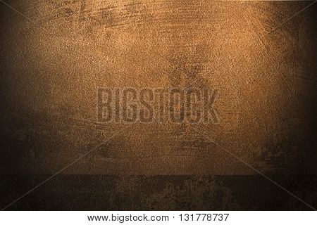 ROUGH WEATHERED WALL, BROWN PAINT, CLOSEUP BACKGROUND