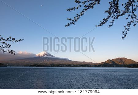 Fuji Mountain in japan volcano lake landmark