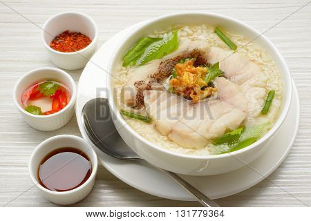 close up Fish porridge in Thai style