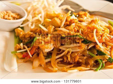 Thai style noodle with fresh shrimp Pad thai Thailand