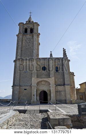 View of the facade of the Major Abbey Church in the Fortaleza de La Mota Spain