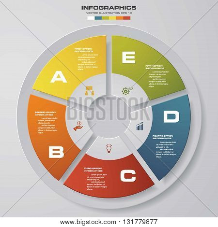 5 steps vector circle for infographic. Template for diagram. EPS10