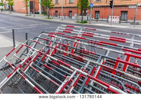 stack of crowd barriers in Berlin Germany