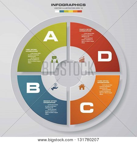 4 steps vector circle for infographic. Template for diagram. EPS10