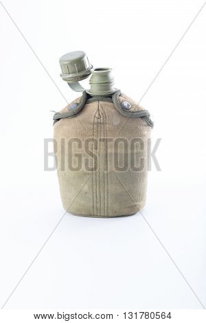 Military canteen on white background . .