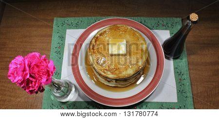Yummy Stack of Fluffy Buttermilk Breakfast Pancakes
