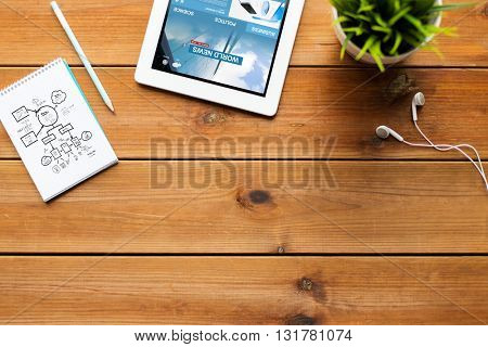 business, mass media and technology concept - close up of tablet pc computer with world news web page on screen, notebook with scheme, pencil and earphones on wooden table