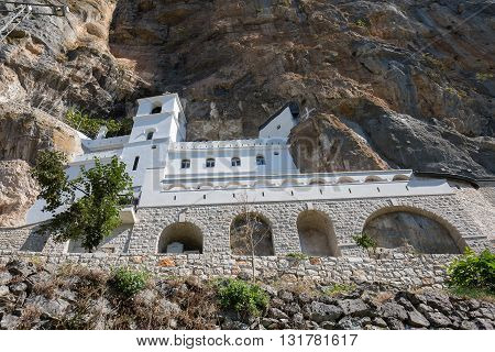 Ostrog monastery in Montenegro - St. Vasilije Ostroski upper church. Ostrog monastery is the most popular pilgrimage place in Montenegro.