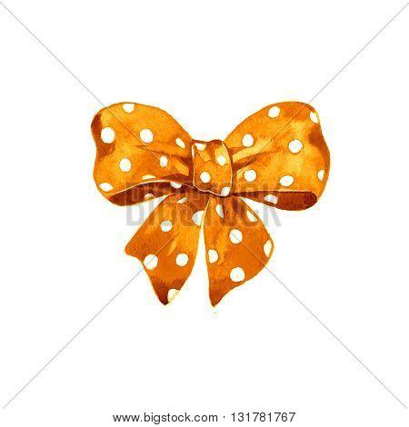 Watercolor satin orange bow polka dot on white background