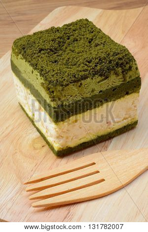 close up Japanese Matcha Green tea cake