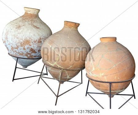 the Ancient greek amphoras on white background