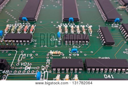 the Closeup of big electronic circuit board