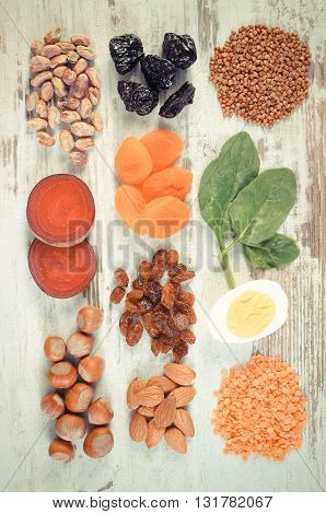 Vintage photo Ingredients and product containing iron and dietary fiber natural sources of ferrum healthy lifestyle and nutrition