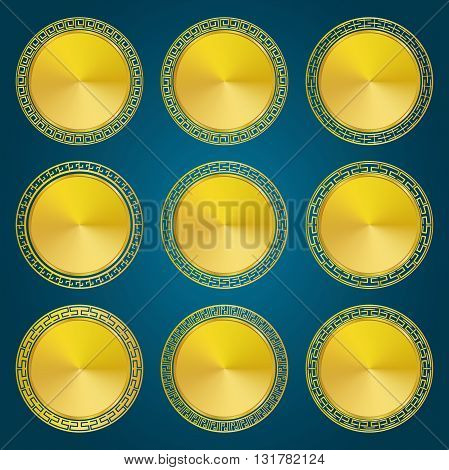 Golden Medallions and Medals with Asian Style frame