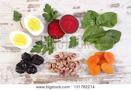 Products and ingredients containing iron and dietary fiber natural sources of ferrum healthy lifestyle and nutrition