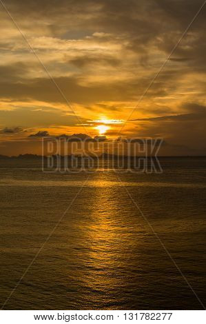 Wonderful sunset over the sea water at island Koh Phangan Thailand