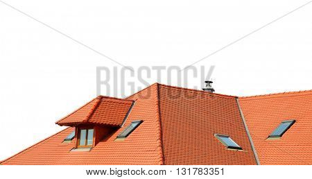 Roof house with tiled roof isolated on white background