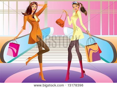 two fashion shopping girl with bag in mall