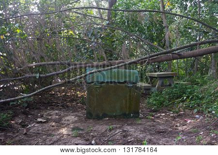 Rusting dustbin and abandoned stone table in forest