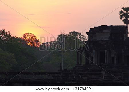 Sun Rising Behind Angkor Wat