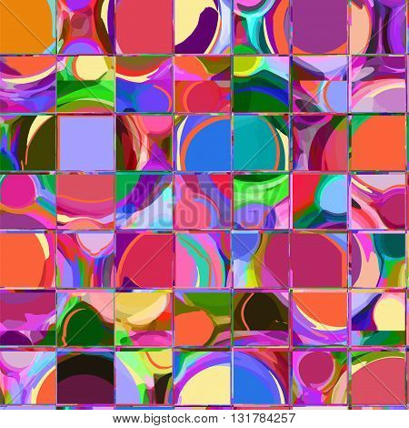 Seamless pattern with row of grunge stained and striped square elements