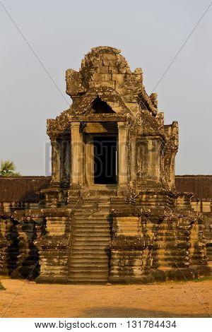 Angkor Wat library at dawn in Cambodia