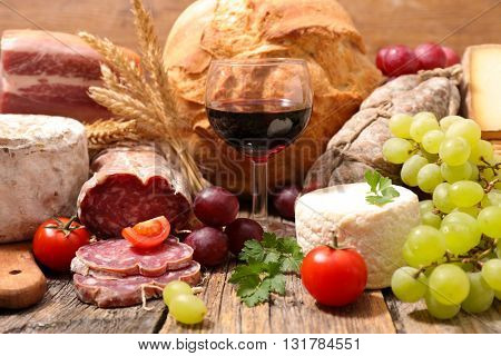 wineglass with cheese and salami