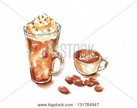 Mocha Frappe Whip Cream And Cappuccino Latte Art Watercolor Painting