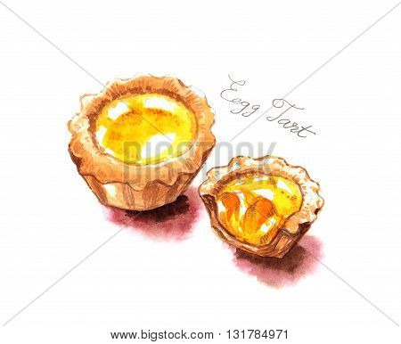Egg Tarts Watercolor Painting Illustration Famous Food Of Hong Kong