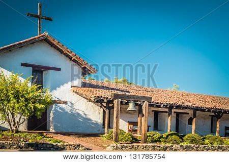 Rustic church and blue sky day sunny