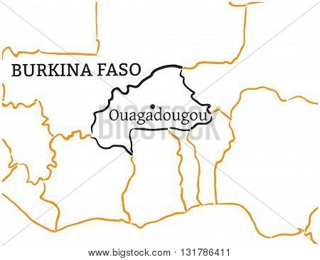 Burkina Faso country with its capital Ouagadougou in Africa hand-drawn sketch map isolated on white