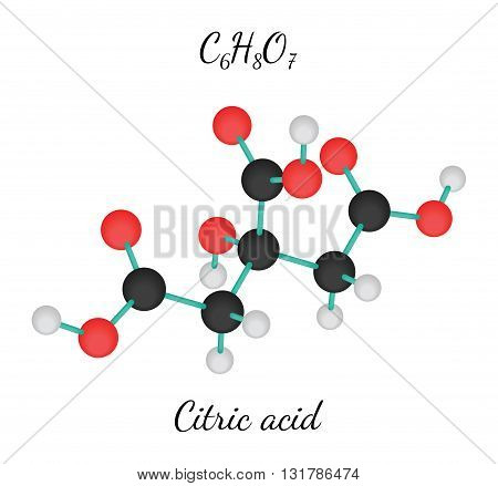 C6H8O7 Citric acid 3d molecule isolated on white