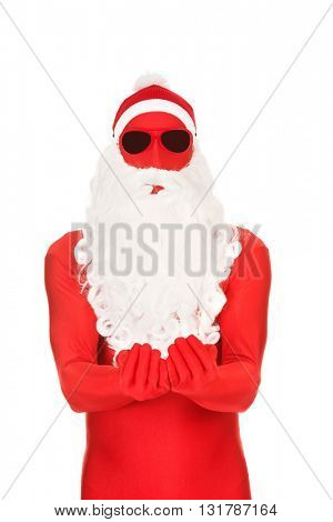 Santa in latex clothes with open hands