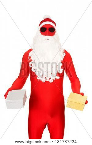 Santa in latex clothing holding gifts