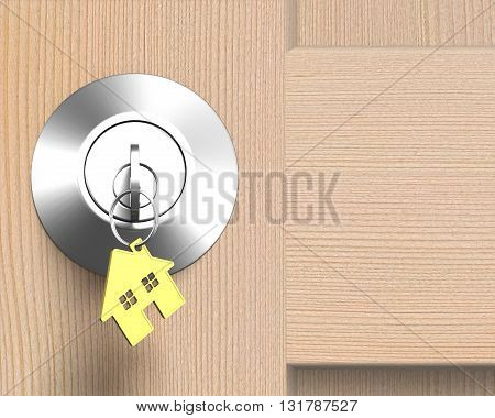 Wooden Door With Lock And House Shape Key-ring