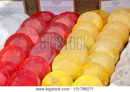 Scented organic vanilla lemon raspberry handmade soap