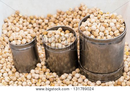 Street peasant food, Salted and dried pumpkin seeds, chickpeas, hazelnuts and roasted peanuts