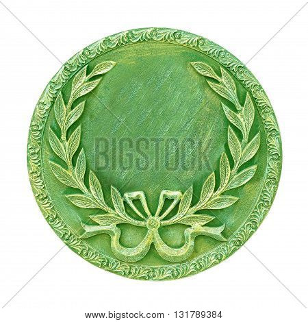 The medal isolated on white background, green